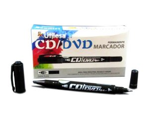 Marcador doble punta para CD o DVD Color Negro.