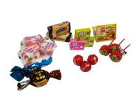 Dulces, chicles, chocolates, caramelos y galletas
